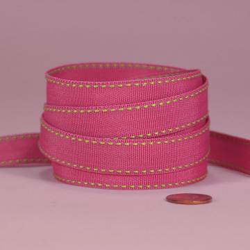 3/8 Side Stitch Ribbon - Lime on Fushia