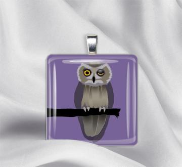 Wise Old Owl Glass Tile Pendant