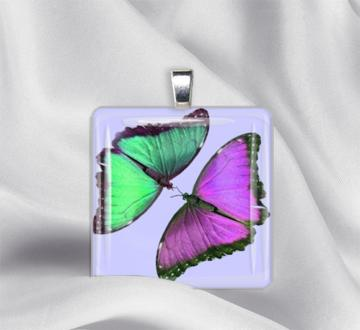 Butterly Duo Glass Tile Pendant