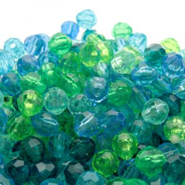 400 Glossy Plastic Faceted Craft Beads Caribbean Blue Mix 8 mm