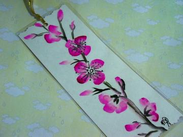 cherry blossom watercolor bookmark original artwork NOT A PRINT