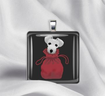 Pooch in a Pouch Glass Tile Pendant