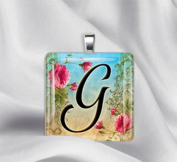 "Initial "" G "" Glass Tile Pendant"