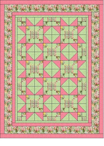 Heirloom Elegance Three Yard Quilt Pattern -Star Garden