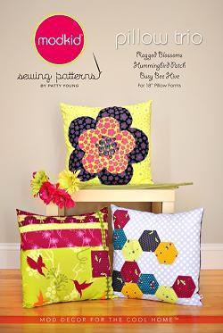 Modkid Boutique Pillow Trio sewing pattern by Patty Young
