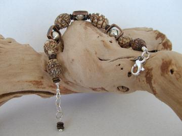 Handmade Silver/Bronze/Nut Bracelet