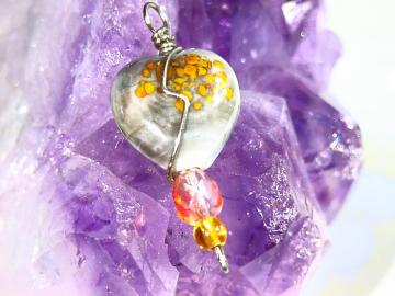 wire wrapped lampwork golden heart bead PENDANT