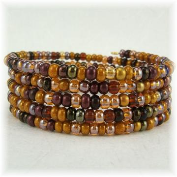 Amber Glass Beaded Spiral Bracelet