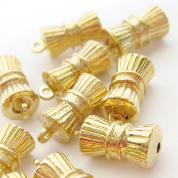 10 Vintage Gold Plate 70s Corrugated Column Charms 11 mm