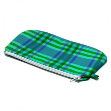 Zipper Pouch - Green and Purple Plaid