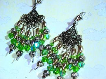 Crisp apple green crystal cascading chandelier earrings silver lever back