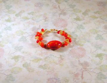 Handmade Orange Bracelet with Large Focal Bead & Small Teardrops