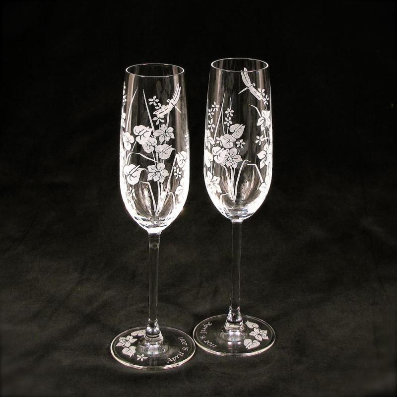 personalized crystal champagne glasses wedding toast glasses with