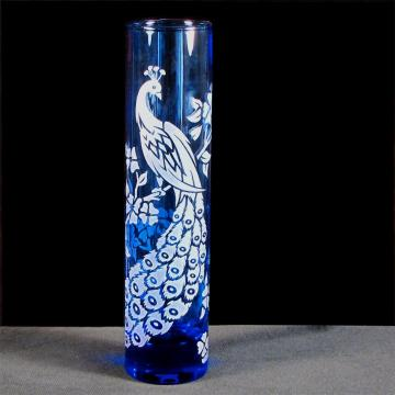 Bud Vase Blue Peacock Glass