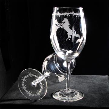 Two Wine Glasses, Horses, Horseshoes, Barb Wire