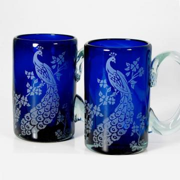 NEW Two Mugs, Peacocks, Cobalt Blue Etched Glass
