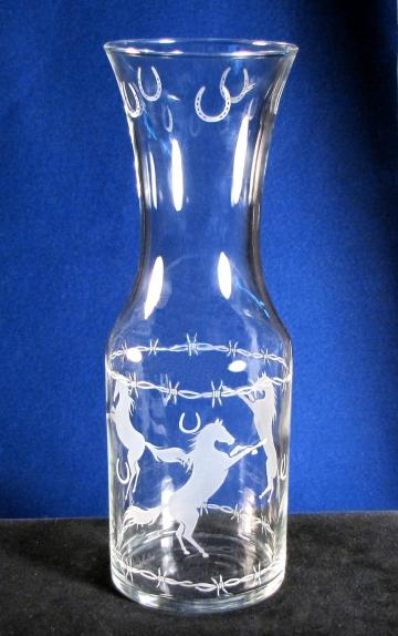 Cowboy Wedding Wine Carafe, Horse, Horseshoes, Barbed Wire