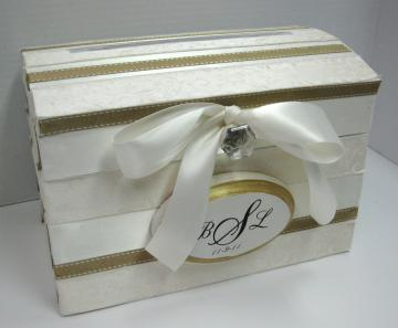 Custom Wedding Card Gift Box with Initial Date Plaque Off White with Gold Trim FREE SHIPPING