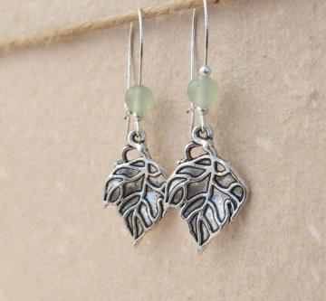 Grape Leaf earrings: pale green jade with antiqued-silver leaves