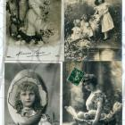4 Antique French EASTER postcards Black and White Real Photo Gold leaf Collage