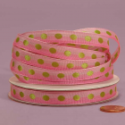 3/8 Polka Dot Ribbon - Pink with Apple Dots