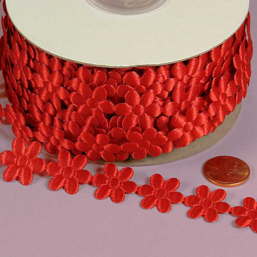 3/4 Flower Charm Ribbon - Red