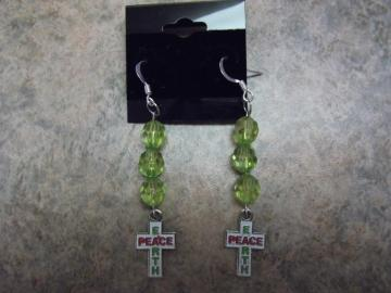 Handmade Green Dangle Crosses Earth Peace
