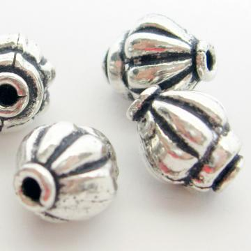 6 Silver Plate Squashed Onion Beads Oxidized 10 mm