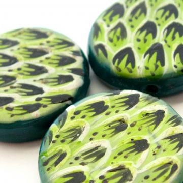 3 Large Flat Round Glass Hand painted Disc Beads Teal Lime Pattern 25 mm