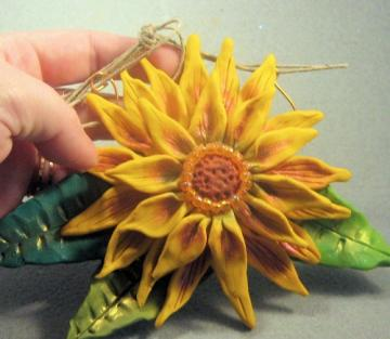 Polymer Clay Yellow Sunflower Wallhanging