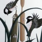 Quilled Chickadees at Play OOAK