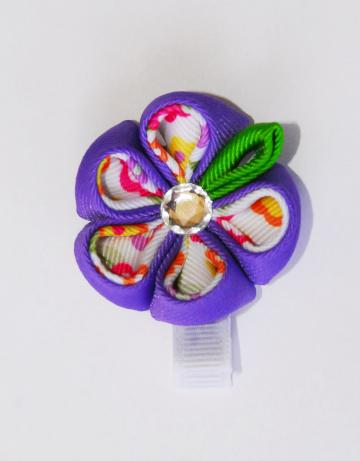 Kanzashi Flower Bow with Round petals