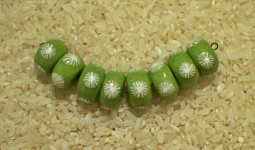 Handmade polymer clay bead set lime green rondelles white flowers
