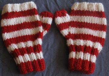 Red and White Fingerless Gloves