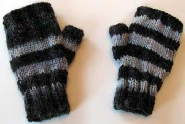 Gray Striped Fingerless Gloves