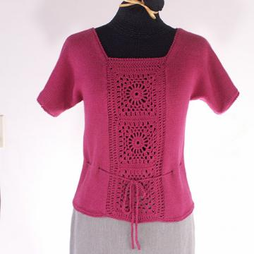 Organic Cotton Sweater with Crocheted Inset - Size Medium
