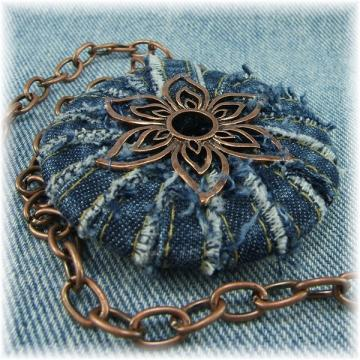 Denim and Copper Pendant Necklace