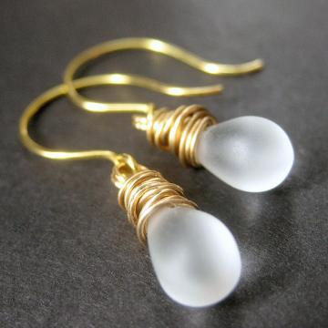 Satin Frost Glass Teardrop Earrings in Gold