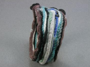 double button fiber art cuff bracelet 1057