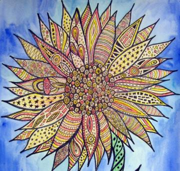 Zentangle Flower Original Watercolor