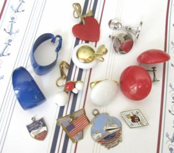Bright Patriotic Red White Blue Findings and Supplies, Lot of 16