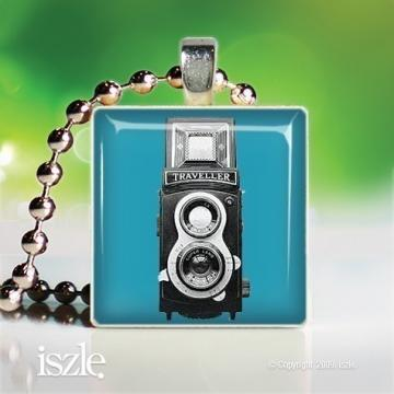 Vintage Camera (OMP161) (blue) – Scrabble Game Tile Art Pendant, can be personalized - handmade by iszle