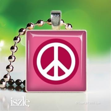 Peace Pink (OMP185)  Scrabble Game Tile Art Pendant, can be personalized - handmade by iszle