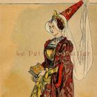 1892 French Fashion Pochoir Print ~ 15th Century Couture