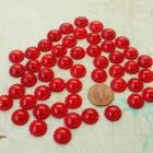 Red flower shape half pearls 12MM, 50 pieces
