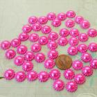 Hot pink flower shape half pearls 12MM, 50 pieces