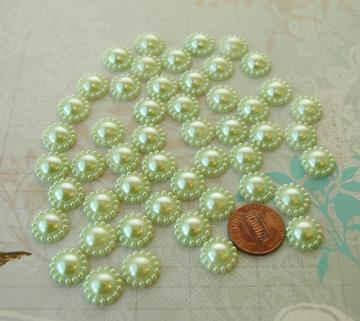 Green flower shape half pearls 12MM, 50 pieces