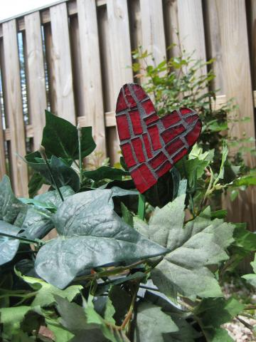Deep Red Heart Mosaic Plant or Floral Pick