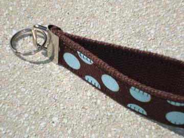 Blue Dots with Brown Wristlet Key Fob