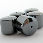 6 Hematite Gemstone Focal Barrel Beads 12mm